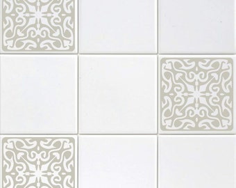 Set Of Six 4 Vinyl Tile Decals Ornate Baroque Style Accent Kitchen Adhesive Stickers