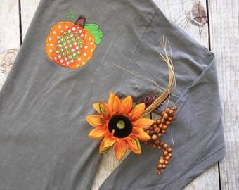 Monogrammed Comfort Color Longsleeve Pumpkin Tee, Polka Dots, Fall, Thanksgiving
