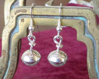 Silver drop ear-rings with hearts