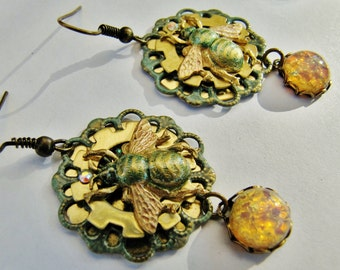 Victorian Industrial Bee, Gear and Vintage Fire Opal Earrings ERG72