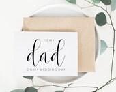 Dad Wedding Day Card. Dad Card. To My Dad Card. Dad Of The Bride Card. Dad Of The Groom. Wedding Card For Dad. Day Of Wedding Cards.