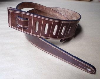 Leather Guitar Strap. For Guitar or Bass. Dark brown. Handmade.