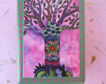 "Pink Doodle Tree Print of an original watercolor painting on a cedar wood block (4""L x 5 1/4""H x 1 1/2"" W) - art block - home decor"