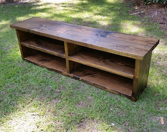 Rustic Style Storage Bench, Wooden Entryway Bench, Mudroom Boot Bench