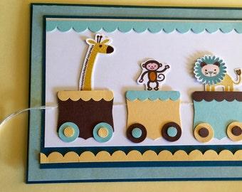Zoo Animals Baby Card, Handmade Using Stampin Up Supplies
