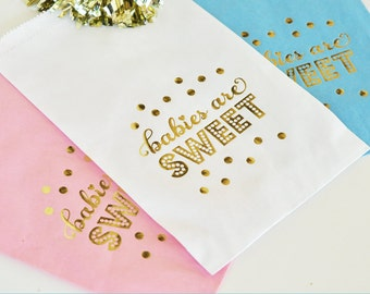 Babies are Sweet Gold Foil Candy Buffet Bags (set of 12)