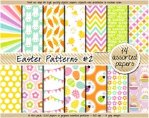 SALE Easter digital paper rainbow digital paper pastel easter clipart bunny pattern carrot flower chevron pink purple green yellow orange