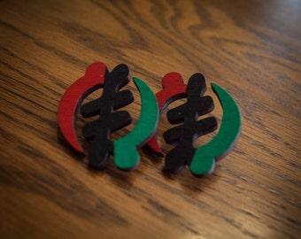 RBG Veritical Gye Nyame Wood Earrings