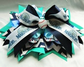 Seattle Mariners Baseball Super Stacked Hair Bow Cheer Bow