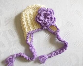 Wool baby hat Eraflap baby hat Girl winter hat Newborn girl hat Baby girl winter hat Cream and lavender hat Baby girl hat Crochet baby hat