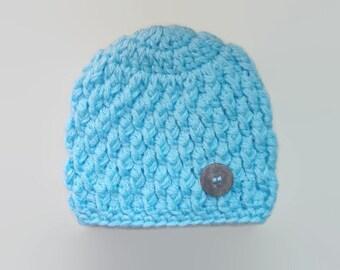 Baby boy hat, crochet baby boy hat, newborn boy hat, blue baby hat, baby hospital hat, baby boy beanie, infant boys hat