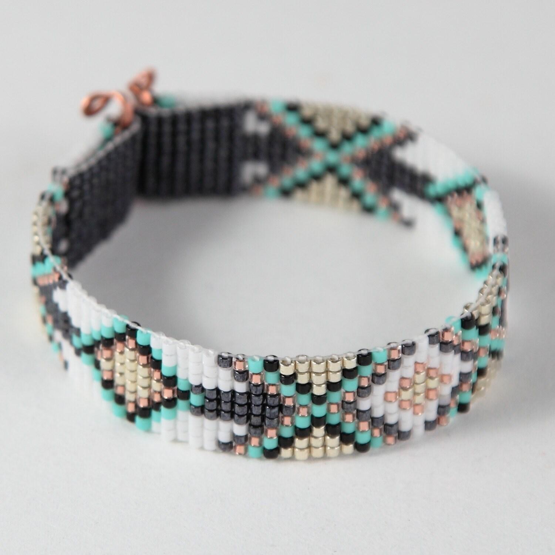 tribal diamonds bead loom bracelet bohemian boho artisanal