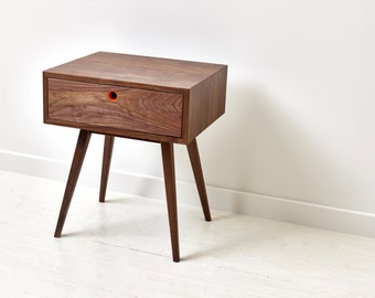 Classic Mid-Century Modern Side Table - Walnut Nightstand