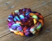RICOCHET color spinning fiber, Organic, Polwarth, silk, roving, spinning, handpainted, hand dyed, top, wool