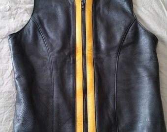 Vintage, hand-made  black genuine leather vest