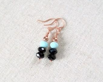 Mint Green, Black, Copper Earrings