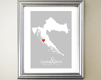 Croatia Custom Vertical Heart Map Art - Personalized names, wedding gift, engagement, anniversary date