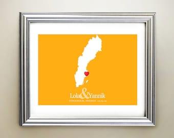 Sweden Custom Horizontal Heart Map Art - Personalized names, wedding gift, engagement, anniversary date