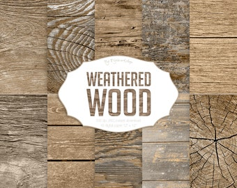 """Wood Digital paper - """"Weathered Wood"""" digital wood textures and backgrounds in brown and neutral colors"""