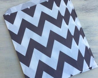 12 Grey Chevron Paper Party Bags