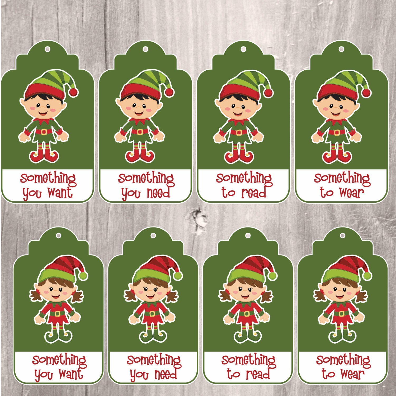Christmas Elf Gift Tags x 6 by Essingtonbee on Etsy  |Christmas Elf Tag