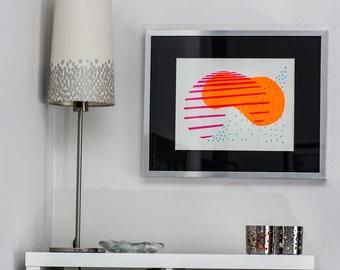 Abstract Art Screen Print (Neon Orange, Neon Fushcia, Aqua)