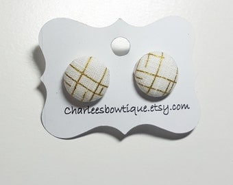 Fabric Button Earrings Nickel Free Posts