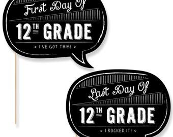 12th Grade - First Day & Last Day of School Photo Props - 12th Grade Photo Booth - Back to School Photo Prop - 2 Talk Bubbles