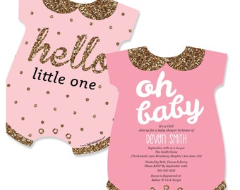 Hello Little One - Pink & Gold - baby bodysuit Shaped Custom Girl Baby Shower Invitations - Printed Personalized Party Supplies - Set of 12