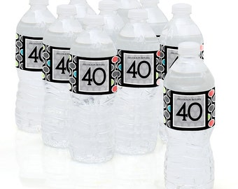 40th Birthday Party - Water Bottle Sticker Labels - Personalized Waterproof Self Stick Labels - 40th Happy Birthday Favors - 10 Ct.