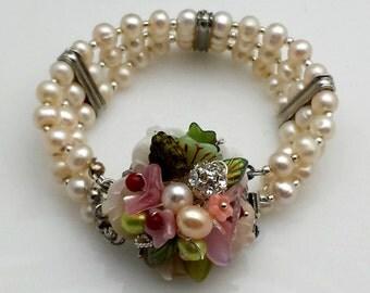 Pale Pearl Three Strand Bracelet With Floral Bejeweled Box Clasp, Rhinestone Spacers, Wedding, Bridal, Bridesmaid, Romantic Style, VB108
