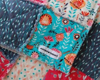 Baby Girl Blanket - Little Girl Rag Quilt - Raggy Quilt - Stroller Blanket - Nursery Quilt - Nesting Quilt - Tummy Time Blanket