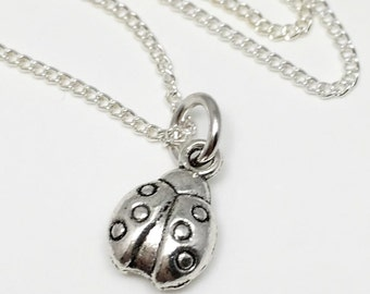 Ladybug 3D Charm Necklace - Antique Silver Jewelry - NEW