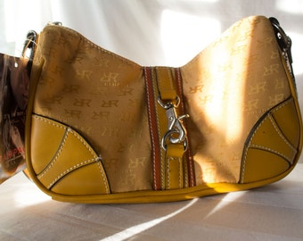 Tan Leather and Canvas Handbag