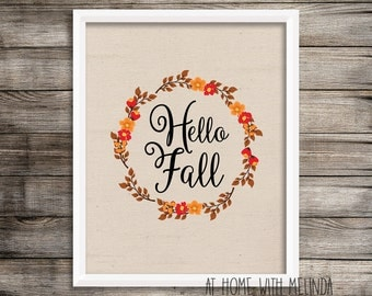 Fall Printable, Hello Fall Printable, Hello Fall, Holidays, Burlap, Thanksgiving Decor, Fall decor, Printables, 8x10, DIGITAL FILE ONLY