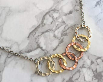 Mixed Metal Link Necklace- Silver Chain- Gold, Silver, Bronze