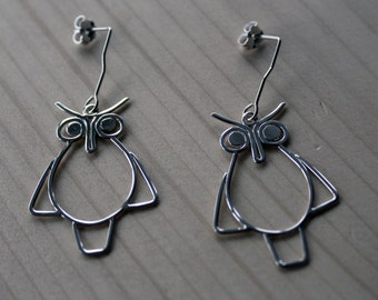 Owl Earrings-Dangle Earrings-Silver Owl Earrings-Sterling Silver Owl Earrings-Silver Owl Dangle Earrings-Valentines Day Gift