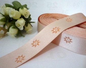 16 yds / 14.6 meters Pastel Orange and smile sunshine Woven Jacquard Ribbon 1 inch / 2.54 cm width L392