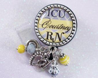 ICU Rn, Nurse Badge Reel, Badge Reel, Nurse RN Badge Reel, Personalized Nurse Badge, Personalized RN Badge, Personalized Badge, Badge Reel