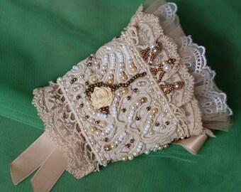 Marie Antoinette cuff,  shabby chic wrist cuff, antique laces cuff,  bead embroidery cuff, bohemian cuff,  textile cuff, Victorian cuff