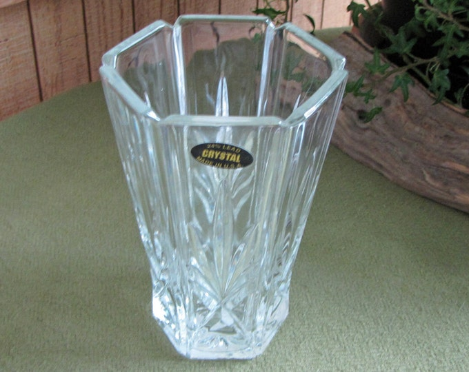 Vintage Gorham Crystal Flower Vase 24% Lead Crystal Paneled Fans and Criss Cross