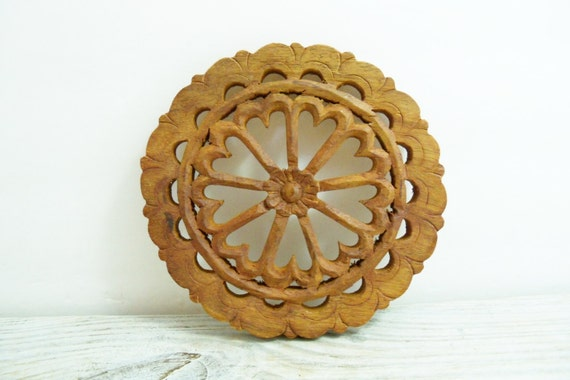 Vintage Teak Wooden Trivet Round  Hand Carved Wagon Wheel Hearts Design Made In India With A Daisy in the Center 1970s