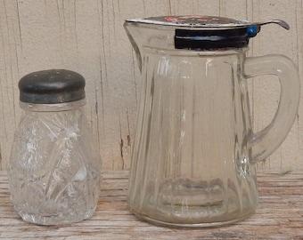 Antique EAPG Syrup Pitcher and Salt Shaker!