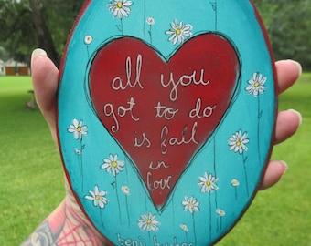 Benji Hughes lyrics painting, all you go to do is fall in love, a love extreme, benji hughes singer, Benji hughes wall art, heart painting