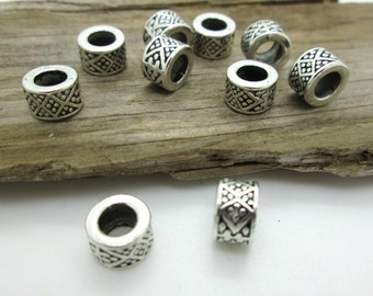 Patterned Silver Large Hole Spacer Bead, Big Hole Bead, 8x5mm (10)