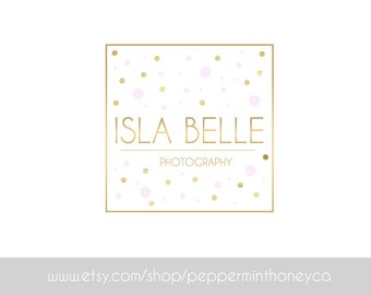 ISLA BELLE LOGO Gold Pink Polka Dots Branding Photography Business Photographer Blog Brand Foil Pink Circle Glitter Sparkle