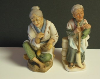 Vintage Porcelain  Old Man And Old Woman Figurines