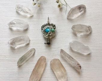 Antique Key & Turquoise, Amazonite, Chrysocolla, Aquamarine Necklace