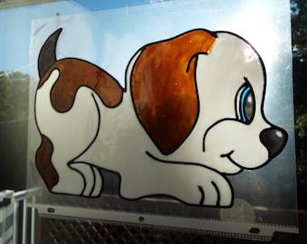 dog cling, dog window cling, window glass art, faux stained glass, faux window art, window cling, dog window art, faux dog cling
