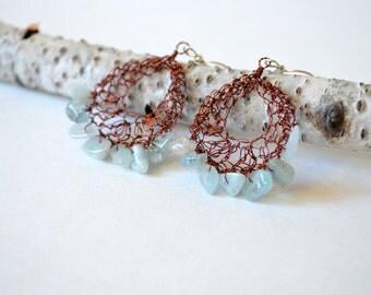 Boho Aquamarine Earrings in Coppery Brown Wire, Hoop Earrings